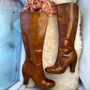 BORN Shiny Carmel Heel Boots - Tall Round Toe